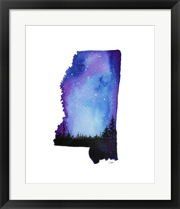 Framed Mississippi State Watercolor Print