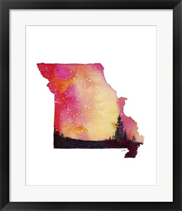 Framed Missouri State Watercolor Print