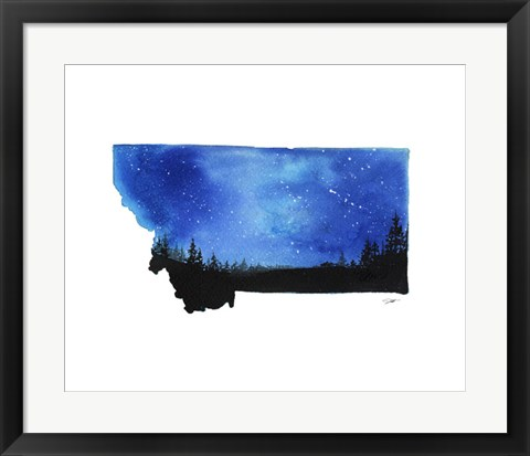 Framed Montana State Watercolor Print