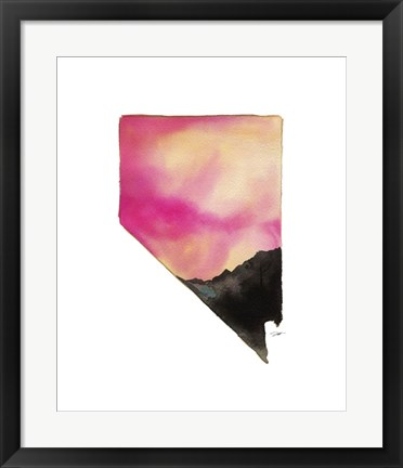 Framed Nevada State Watercolor Print
