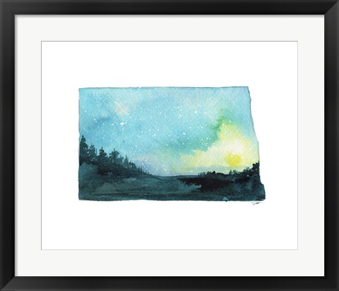 Framed North Dakota State Watercolor Print