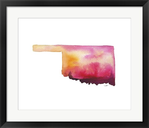 Framed Oklahoma State Watercolor Print