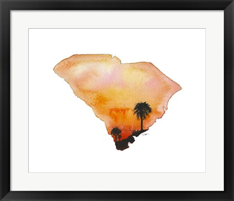 Framed South Carolina State Watercolor Print