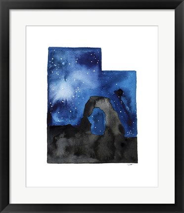 Framed Utah State Watercolor Print