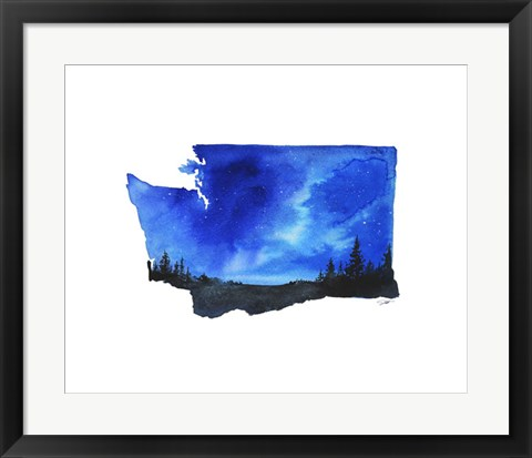 Framed Washington State Watercolor Print
