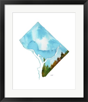 Framed Washington D.C. State Watercolor Print