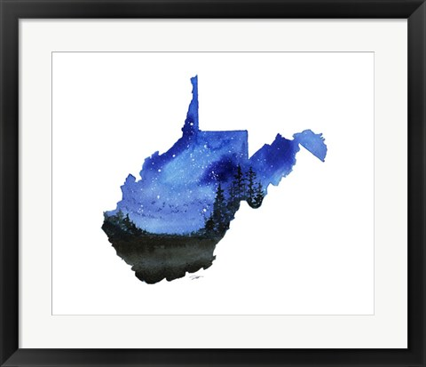Framed West Virginia State Watercolor Print