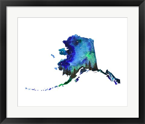 Framed Alaska State Watercolor Print
