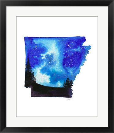 Framed Arkansas State Watercolor Print