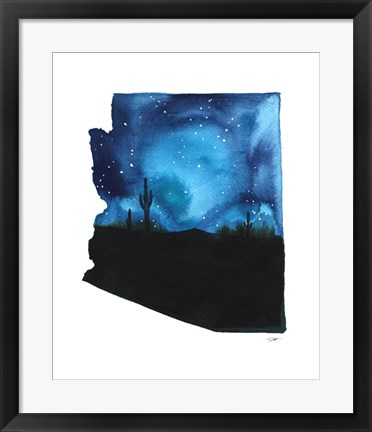 Framed Arizona State Watercolor Print