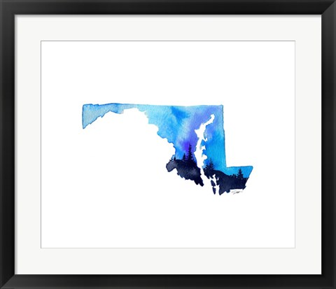 Framed Maryland State Watercolor Print