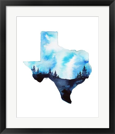 Framed Texas State Watercolor Print