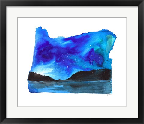 Framed Oregon State Watercolor Print