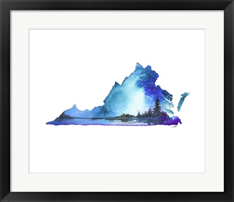 Framed Virginia State Watercolor Print
