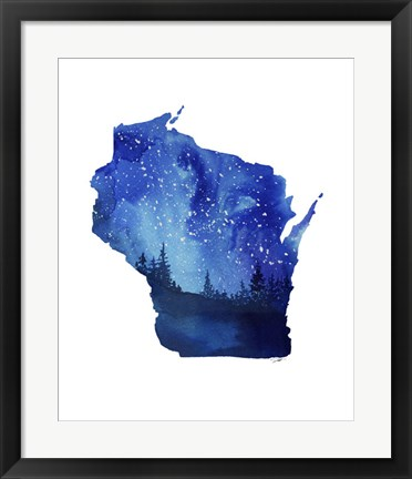 Framed Wisconsin State Watercolor Print