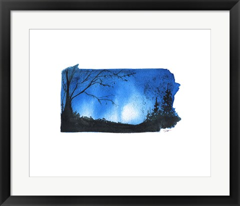 Framed Pennsylvania State Watercolor Print