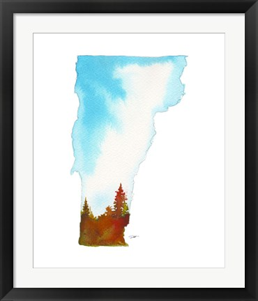 Framed Vermont State Watercolor Print