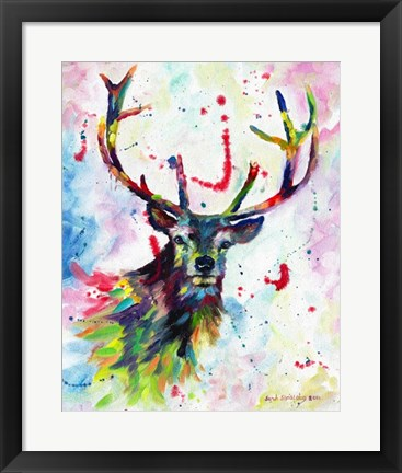 Framed Color Stag Print