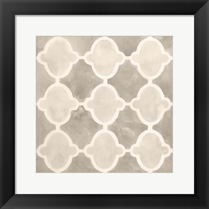 Framed Neutral Watercolor Tile II Print