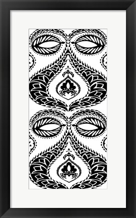 Framed B&W Arabesque Panels I Print