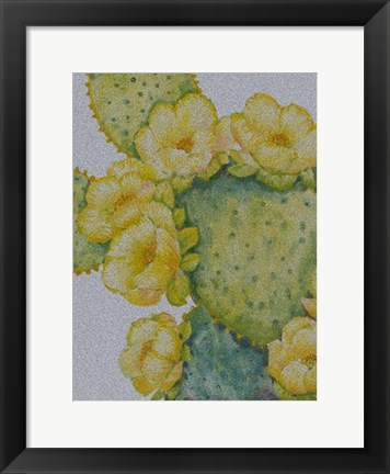 Framed Cactus on Silver I Print