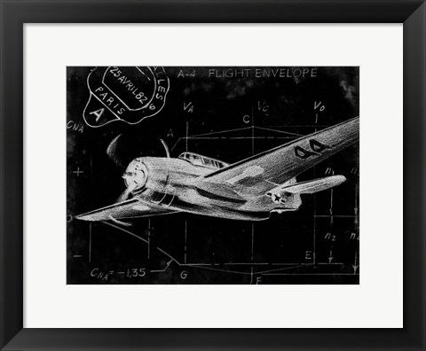 Framed Flight Schematic II Print