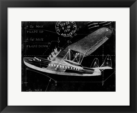 Framed Flight Schematic III Print