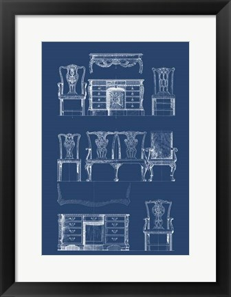 Framed Furniture Blueprint I Print