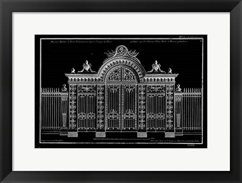 Framed Neufforge Gate Blueprint III Print