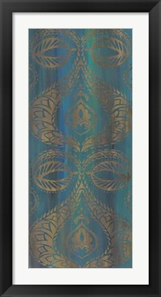 Framed Blue Arabesque I Print