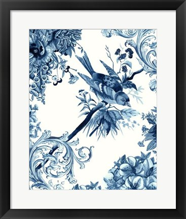 Framed Bird & Branch in Indigo II Print