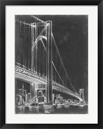Framed Suspension Bridge Blueprint I Print