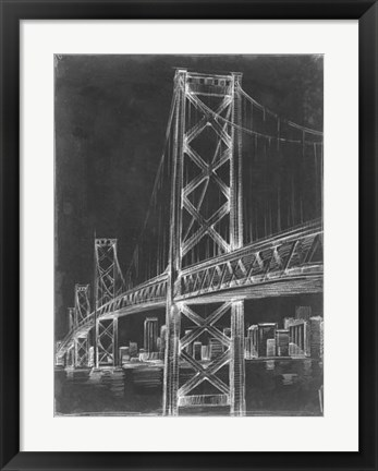 Framed Suspension Bridge Blueprint II Print