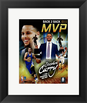 Framed Stephen Curry 2016 Back to Back MVP Portrait Plus Print