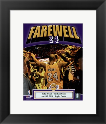 Framed Kobe Bryant plays his final NBA game-Staples Center- April 13, 2016 Print