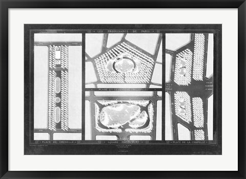 Framed French Garden Blueprint III Print