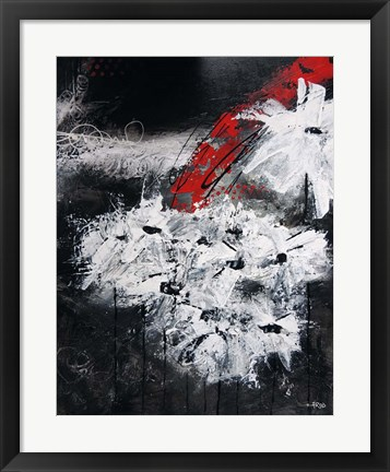 Framed White and Red Flowers Print