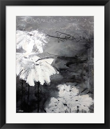 Framed White Little Flowers Print