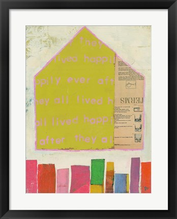 Framed Happy Home in Yellow Print