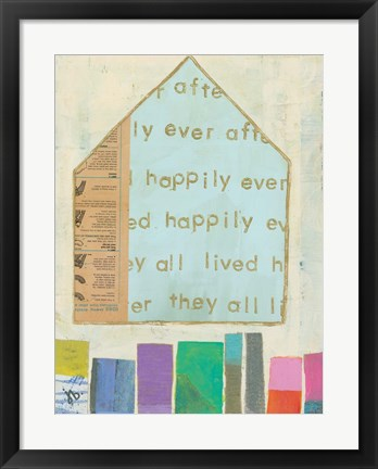 Framed Happy Home in Blue Print