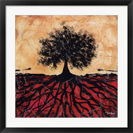 Framed Tree with Roots I Print