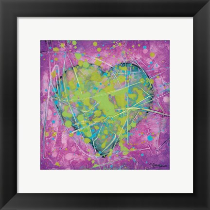 Framed Emotions Green Heart Print