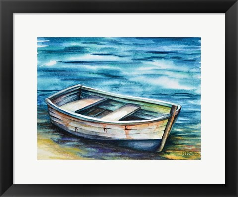 Framed Beached Rowboat Print