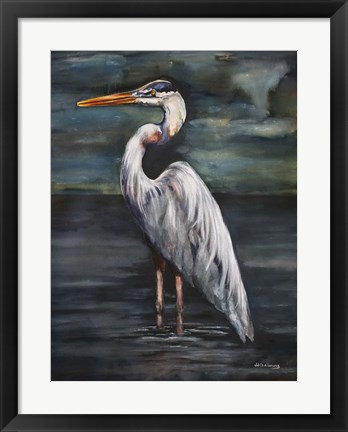Framed Blue Heron at Dusk Print
