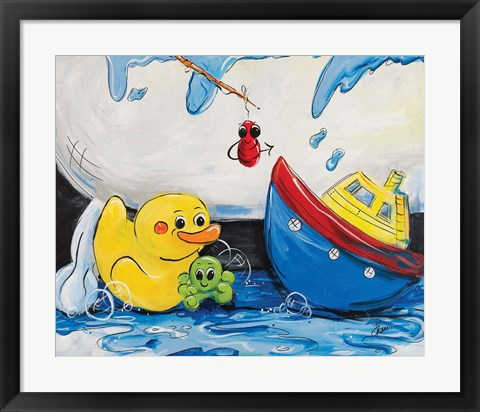Framed Rubber Ducky and Boat Print