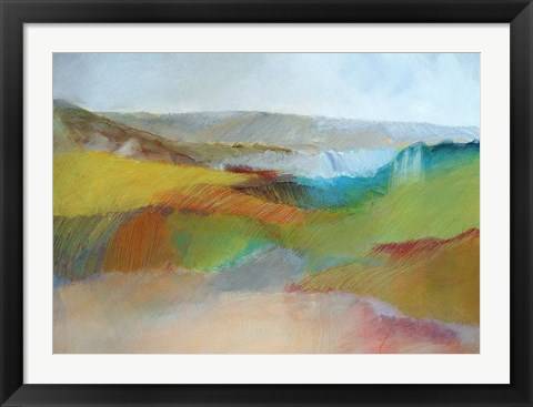 Framed Green, Yellow and Rose Landscape Print