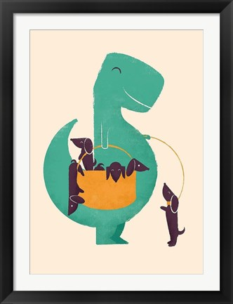 Framed TRex and The Basketful of Wiener Dogs Print