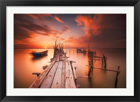 Framed Red Sunset at Carrasqueira, Alentejo Print