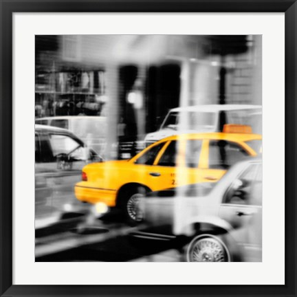 Framed Yellow Taxi Reflection Print