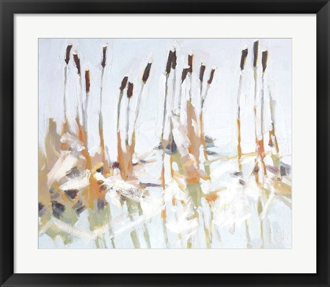 Framed Cattails and Ice Print